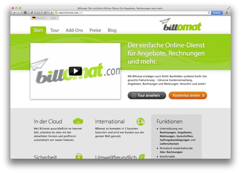 Website des Anbieters Billomat. Er bietet die Erstellung von Online-Rechnungen.