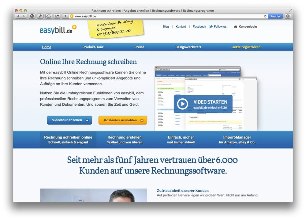 Screenshot: Easybill erleichter das Erstellen von Online-Rechnungen.
