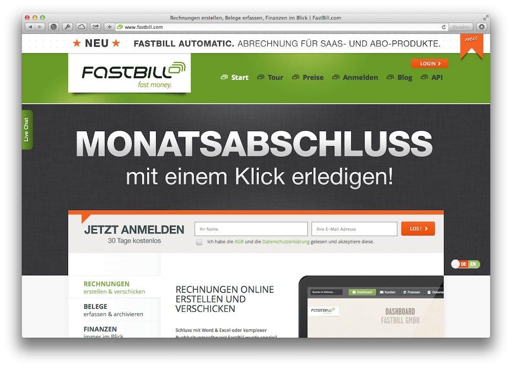 Screenshot der Website: Fastbill ist Anbieter eines Webdienstes zur Erstellung von Online-Rechnungen.