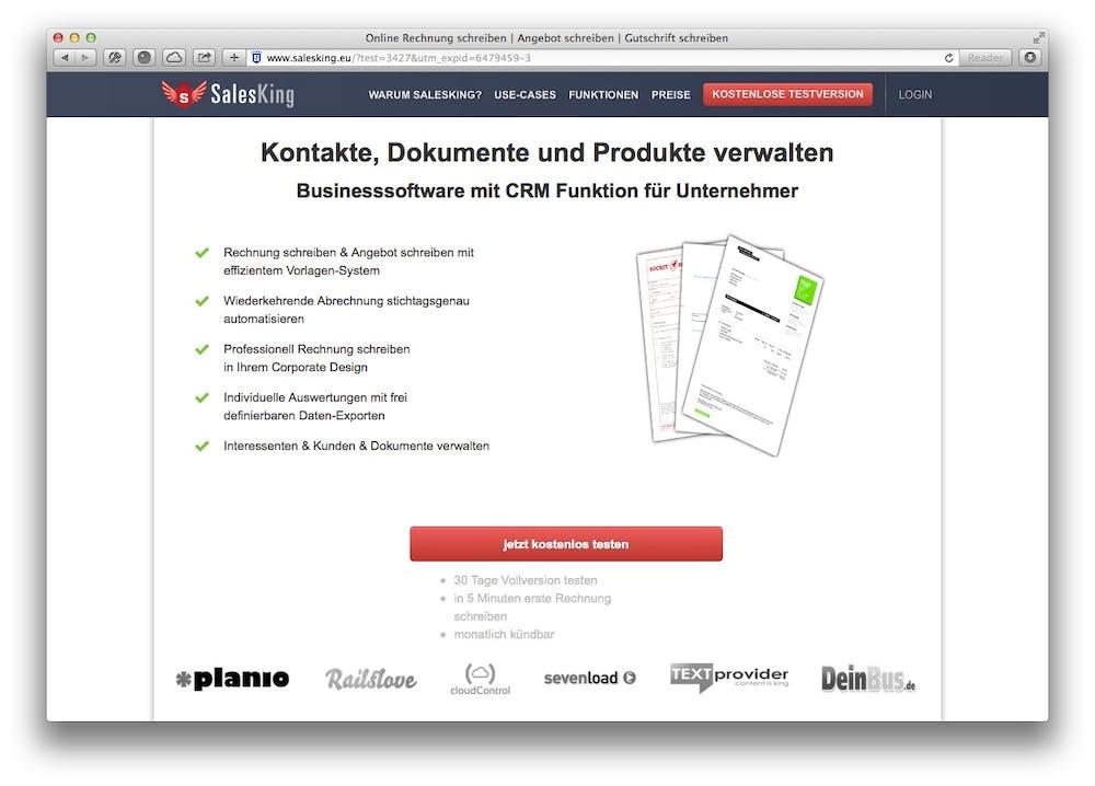Salesking-Website: Der Anbieter ermöglicht das einfache Erstellen von Online-Rechnungen.