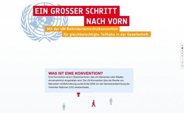 Aktion Mensch erklärt auf dieser Website das Prinzip einer UN-Konvention und setzt dabei auf Parallax Scrolling.