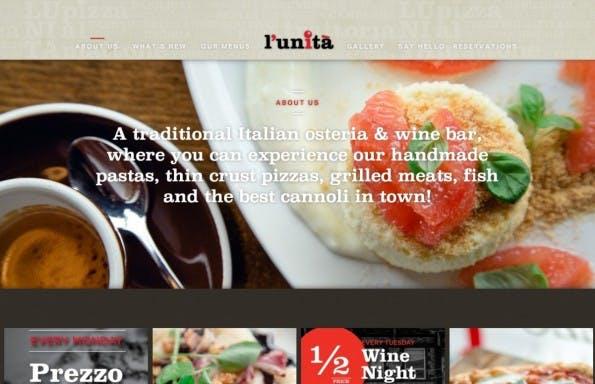 Das italienische Restaurant aus Toronto präsentiert sich mittels Parallax Scrolling.
