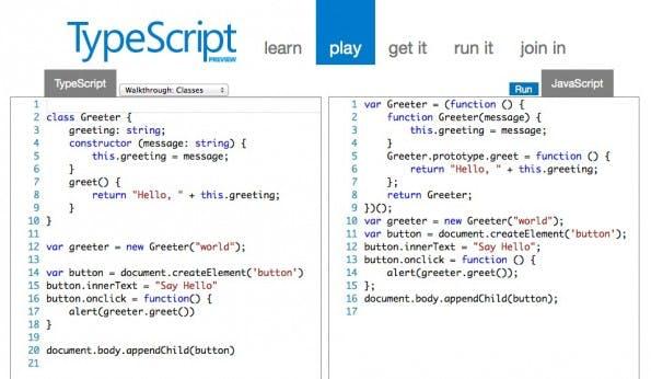 Links TypeScript, recht JavaScript.