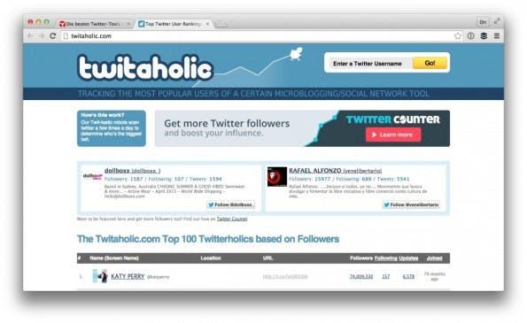 Mit twitaholic findest du thematisch sortierte Nutzerprofile. (Screenshot: twitaholic.com)