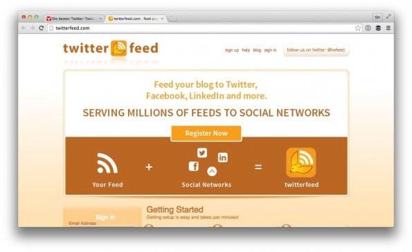 Die Automatisierung von TwitterFeed kannst du auch mit IFTTT realisieren. (Screenshot: twitterfeed.com)