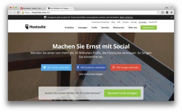 Hootsuite und Buffer helfen beim Planen deiner Inhalte. (Screenshot: hootsuite.com)