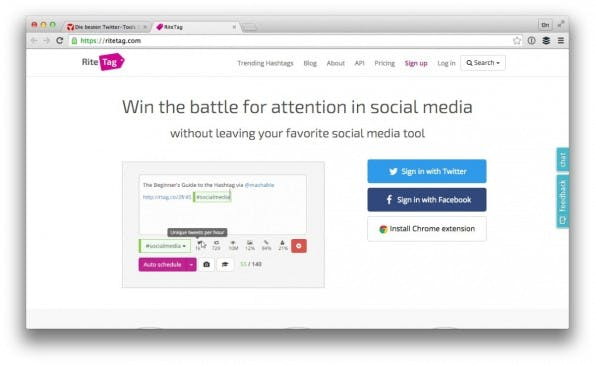 Das Twitter-Tool RiteTag empfiehlt dir die richtigen Hashtags. (Screenshot: ritetag.com)