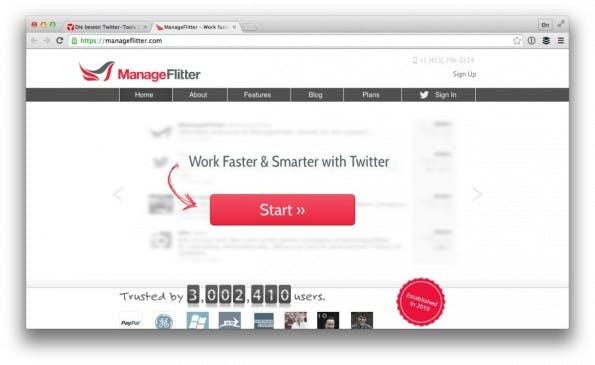 Ein Klassiker der Twitter-Tools: Manageflitter. (Screenshot: manageflitter.com)