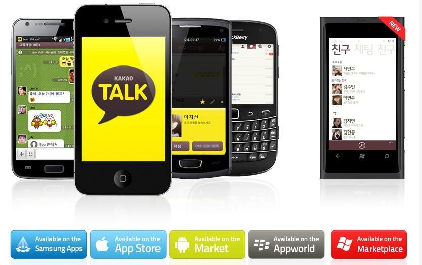 Kakaotalk: Der Dienst mit dem leckeren Namen ist vor allem in Südkorea weit verbreitet und zählt nach eigenen Angaben insgesamt über 140 Millionen Nutzer (Stand: Mai 2014) – ein Großteil ist allerdings im Heimatland des Dienstes verortet. Auch Kakaotalk bietet Apps für die meisten verfügbaren mobilen Plattformen, von iOS, Android über Windows Phone zu Blackberry und Bada ist alles vertreten. (Bild: Kakaotalk)