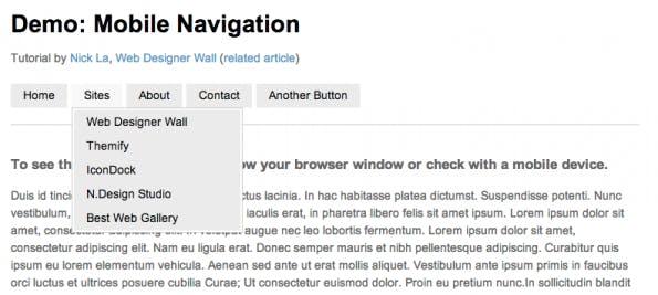 Mobile Navigation inkl. Dropdown Menü