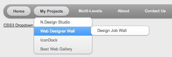 Webdesignerwall CSS3 Dropdown Menu