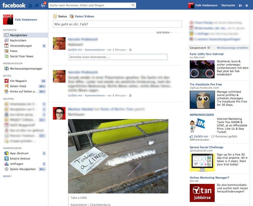 Der Newsfeed zeigt eigentlich sehr schön, warum ein Facebook-Redesign mal wieder an der Reihe wäre.
