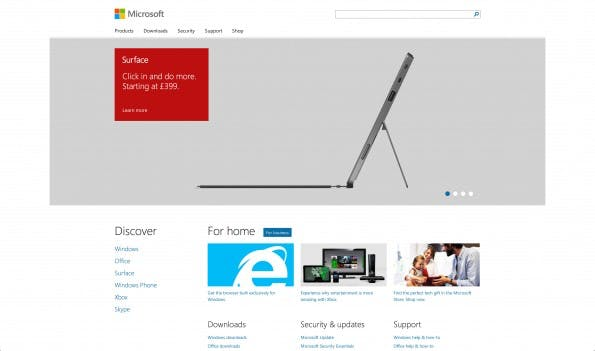 Screenshot Microsoft Webseite