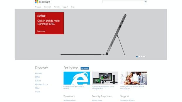 Microsoft Webseite im Flat Design