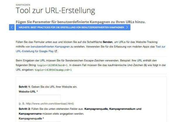 Der URL-Builder von Google.