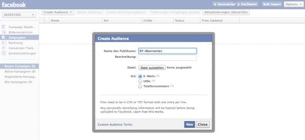 Facebook Costumer Audience