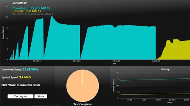 SpeedOf.Me: Internet-Speedtest ohne Flash, Java und Co.