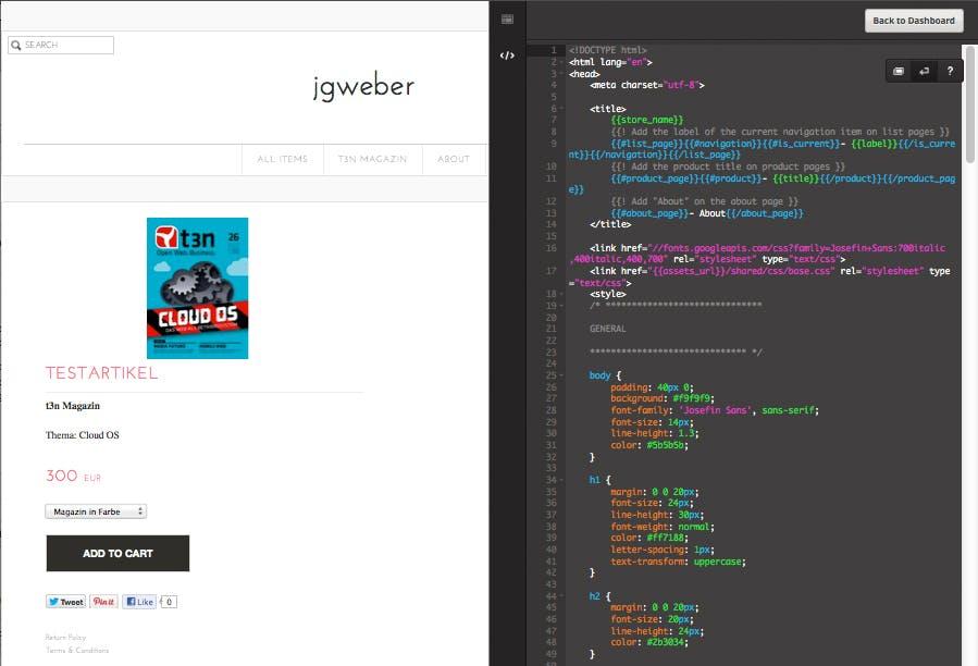 Das Design des TicTail-Stores und die Texte können im HTML-Editor bearbeitet werden. (Screens: TicTail)