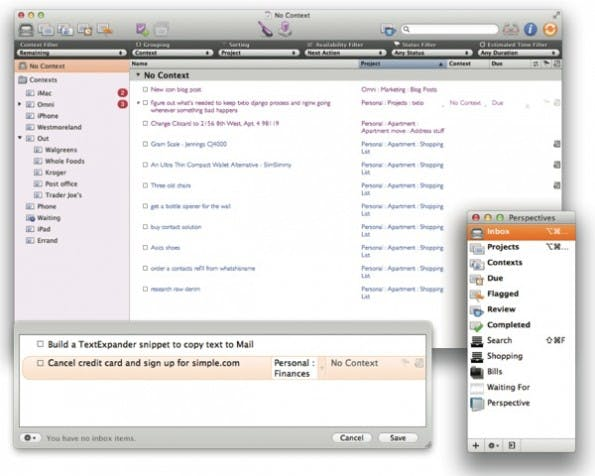 Screenshot von OmniFocus