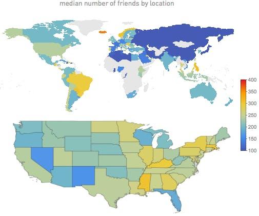 Die Anzahl der Freunde ist in den weltweiten Regionen und den US-Bundesstaaten ganz unterschiedlich. (Bild: blog.stephenwolfram.com).