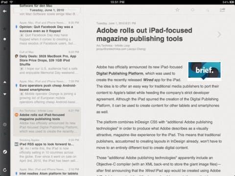 Reeder - iPad-Applikation