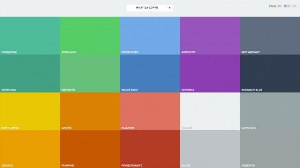 Die Seite FlatUIColors.com bietet einige Beispiel-Farbpaletten für's Flatdesign. (Screenshot: FlatUIColors.com)