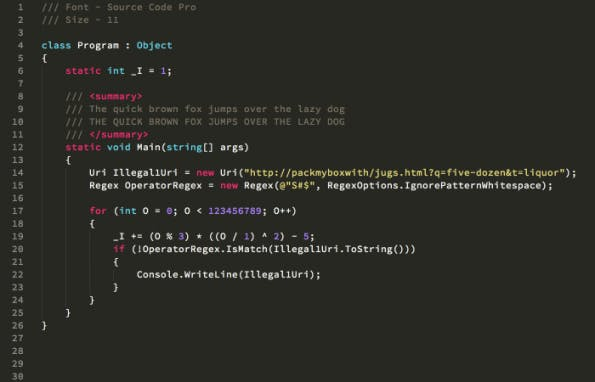 Beim Arbeiten mit Quellcode sollte man auf gute Lesbarkeit, und damit auch auf eine gute Schriftart achten.