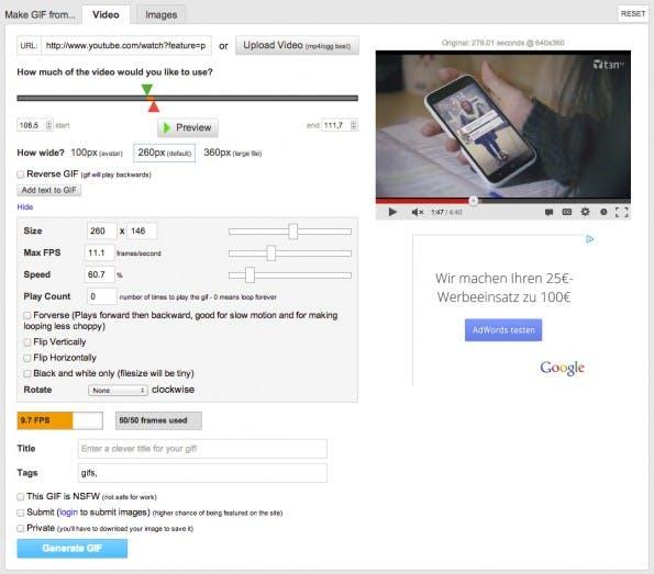 Der schnellste Weg zur animierten GIF ist ein Online-Editor, wie hier im Bild der imgflip Animated GIF Generator.