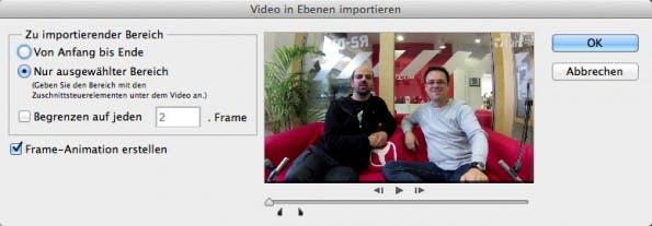 Bereits beim Import bietet Photoshop vielfältige Möglichkeiten, um eine ideale GIF erstellen zu können.