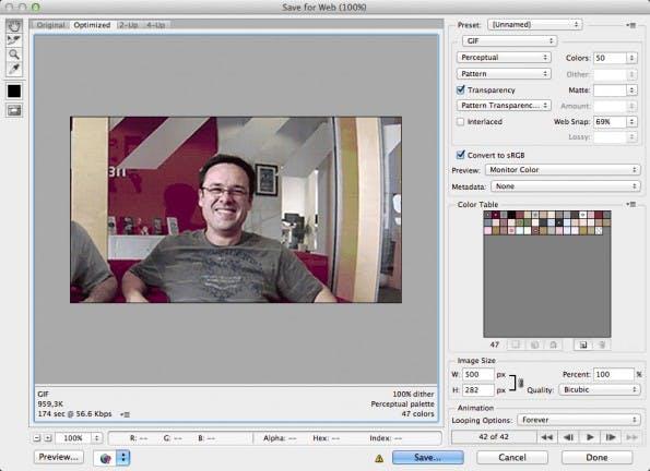 Beim finalen Export geht es vor allem darum, eine möglichst kleine Datei zu erzeugen. Im Idealfall bleibt eine animierte GIF im Bereich unter einem Megabyte.