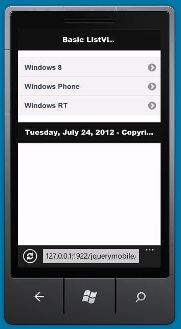 Ein einfaches listview-Element dargestellt im Windows Phone Emulator