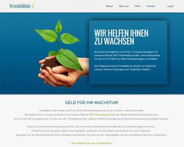 Über Kredibble sollen Online-Händler eine Einkaufslinie von bis zu € 10.000 für Warenfinanzierungen erhalten können.  (Screenshot: Kredibble)