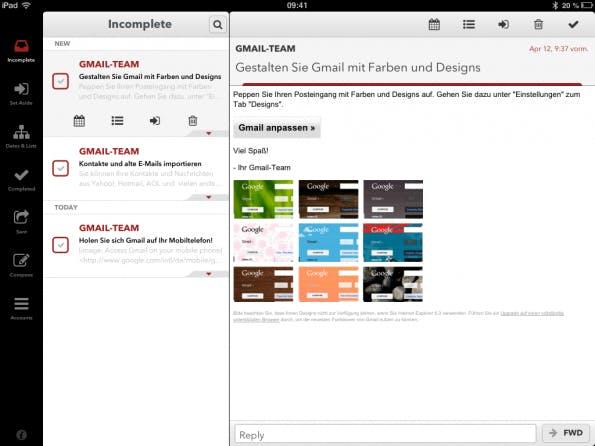 """Eingehende Mails landen als """"unerlerdigt"""" im Postfach. Attribute wie """"gelesen"""" oder """"ungelesen"""" existieren in Mail Pilot nicht."""