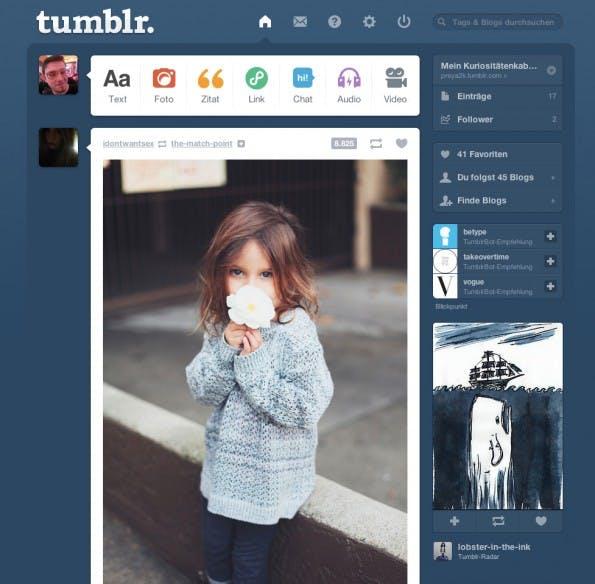 Das Backend von tumblr zeigt einem die neusten Beiträge von allen Blogs, die man abonniert hat.