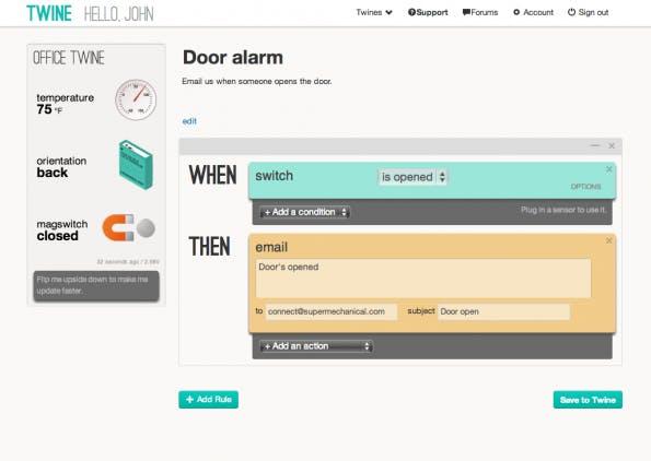 Twine kann über das Web-Interface einfach per Drag & Drop programmiert werden.
