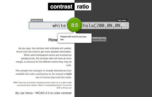 In Bezug auf Typografie für mobile Websites kommt dem Kontrast große Bedeutung zu. Mit Tools wie Contrast Ratio kann man schnell abschätzen, ob die gewählten Kombinationen ausreichend Kontrast bieten, damit die Schrift auch bei direkter Sonneneinstrahlung auf den Bildschirm noch gut lesbar ist.