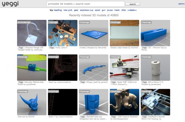yeggi ist eine Meta-Suchmaschine, die 3D-Datenbanken durchsucht. Momentan werden ca. 41000 Modelle gelistet.