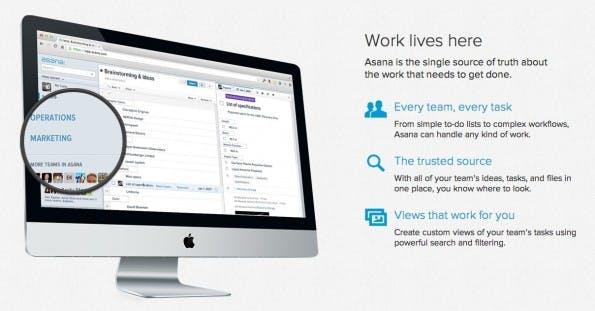 Lob erhält Asana vor allem für Usability und User Experience. (Screenshot: asana.com)