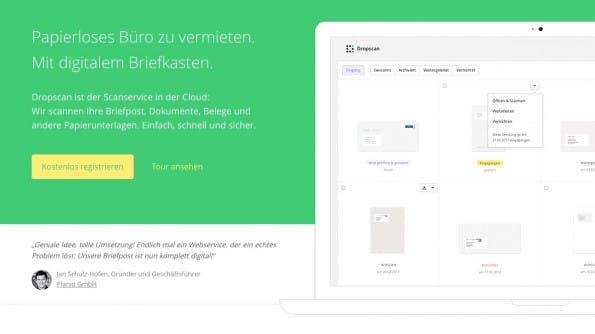 Auf dem besten Weg zum papierlosen Büro, mit Dropscan. (Screenshot: Dropscan.de)
