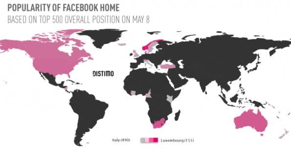 Die Staaten im Rahmen einer Weltkarte, in denen Facebook Home in den Top-500 ist. (Quelle: Distimo/TechCrunch)