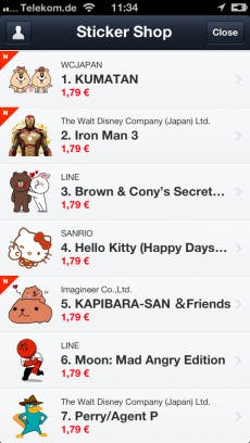 Im LINE Sticker Shop sorgen täglich neue kostenpflichtige Sticker für Jauchzen beim User und Umsatz beim Anbieter.