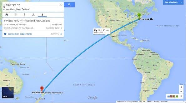 Häufig gefordert und jetzt bei Google Maps dabei: Flugrouten.