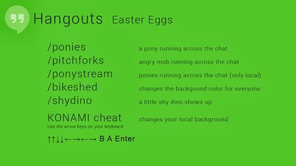 Mit diesen Befehlen lassen sich Hangout-Eastereggs in den Videochat einfügen.