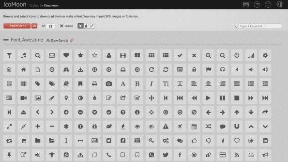 Icomoon bietet Nutzern eine große Auswahl an Icon Fonts. (Screenshot: icomoon.io)