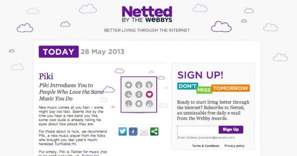 Kultige Newsletter wie der von Netted - hier in der Webversion - bündeln eine Vielzahl von Interessierten hinter sich. (Screenshot: netted.net)