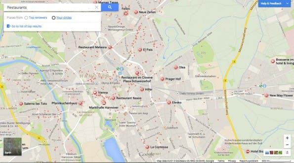 Das neue Google Maps präsentiert sich im Vollbildmodus.
