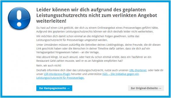 Das WordPress-Plugin gegen Leistungsschutzrecht vom Verein D64 leitet bei zweifelhaften Links auf eine zwischengeschaltete Landingpage. (Screenshot: d64.org)