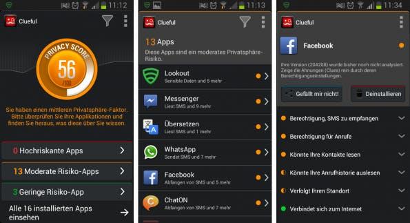 Die Android-App Clueful von Bitdefender scannt sämtliche Apps, die sich auf dem Smartphone befinden und stuft diese nach dem Gefährdungspotenzial für die eigene Privatsphäre ein.