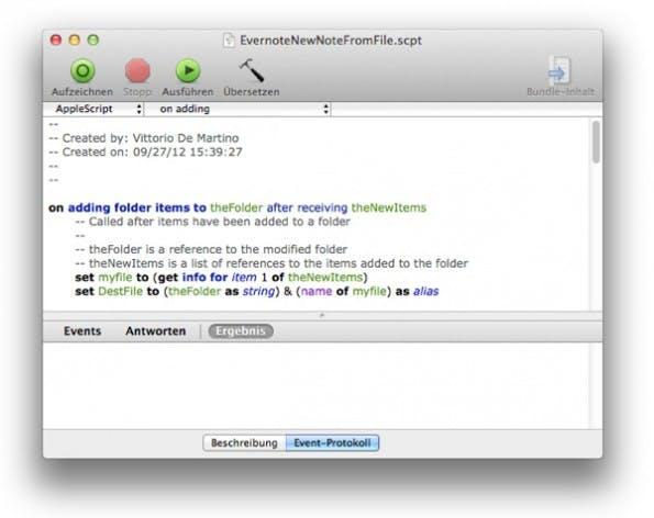 Mac-Nutzer müssen für das Evernote-Backup auf AppleScript zurückgreifen. (Screenshot: AppleScript-Editor)