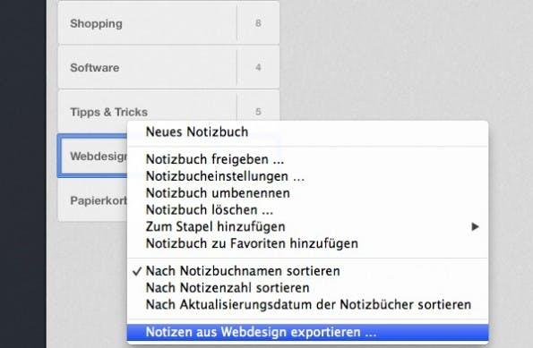Ein Rechtsklick auf ein Evernote-Notizbuch öffnet die Export-Funktion, die sich für ein Backup nutzen lässt. (Screenshot: Evernote-App)